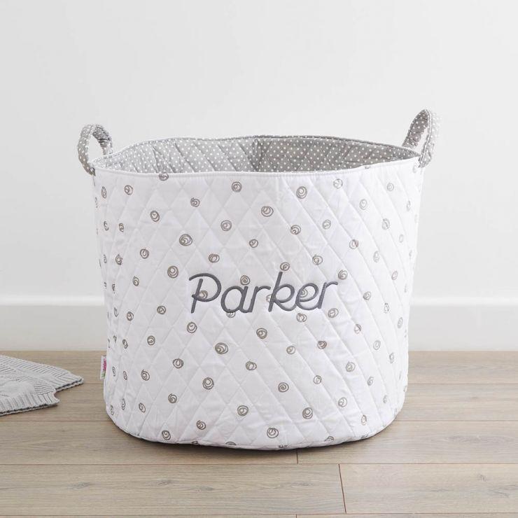 Personalised Large White Swirl Print Storage Bag