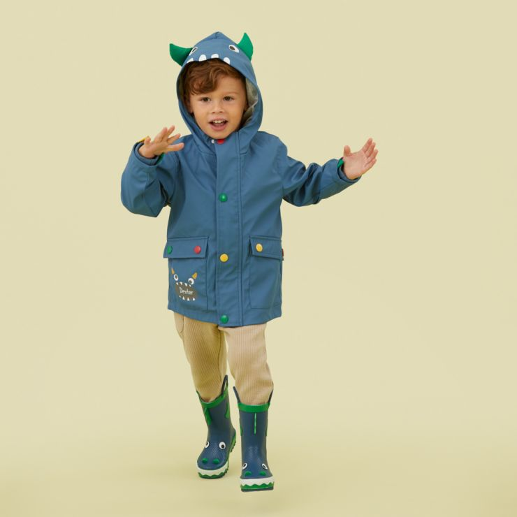 Personalised Monster Jersey Lined Raincoat Model