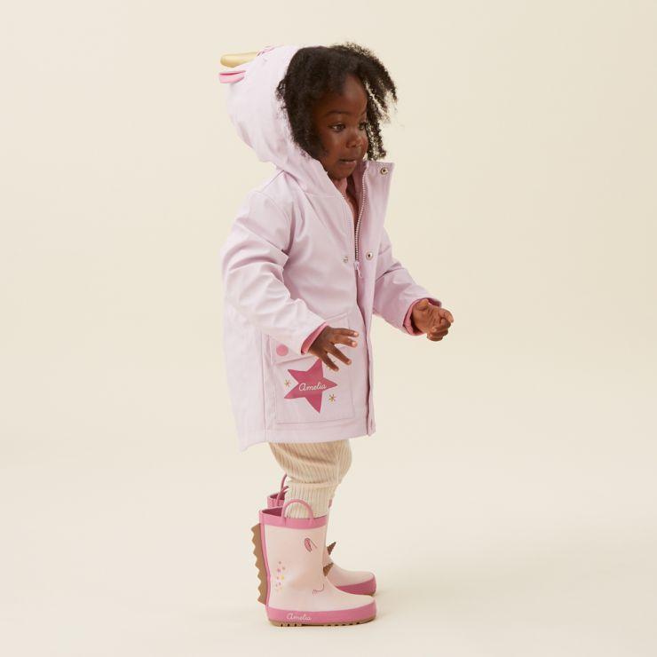 Personalised Unicorn Jersey Lined Raincoat Model
