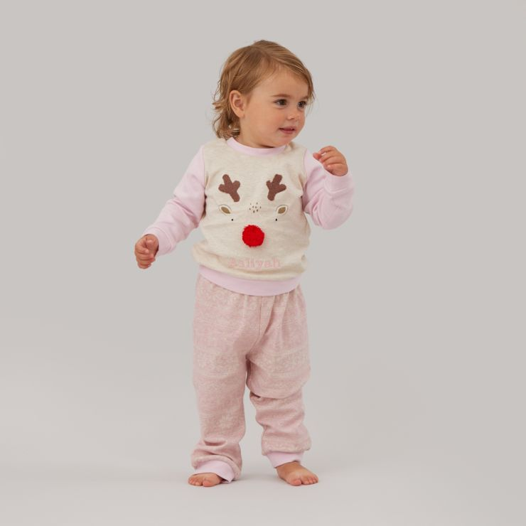 Personalised Pink Reindeer Christmas Pyjama Set Model