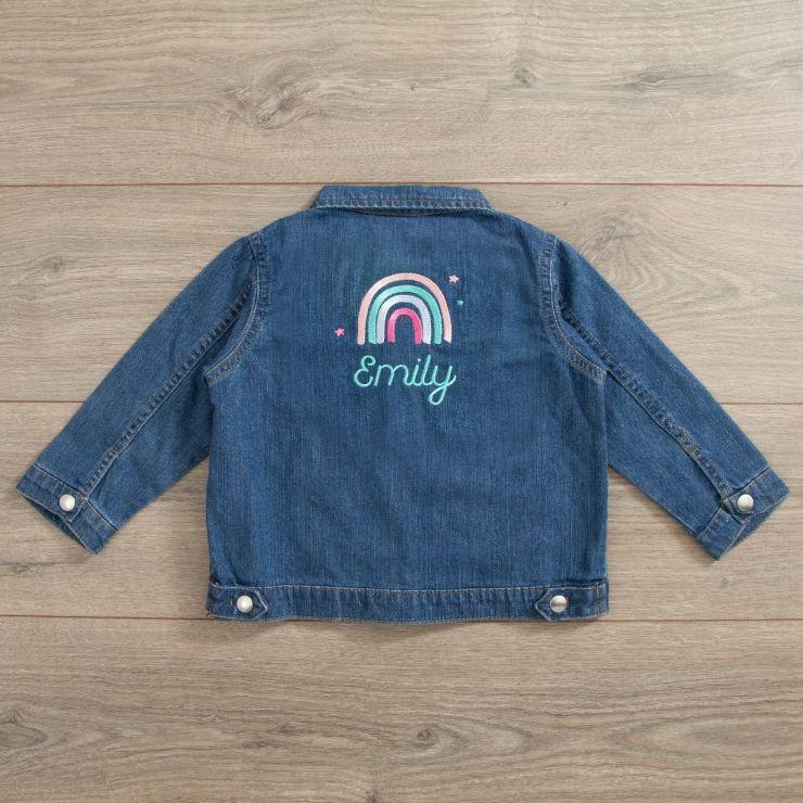 Personalised Rainbow Design Denim Jacket