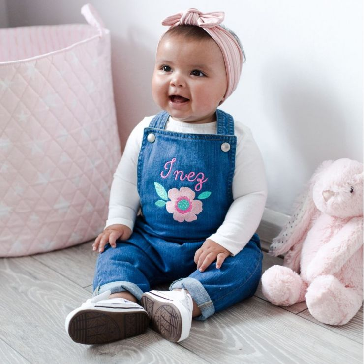 Personalised Floral Design Denim Dungarees