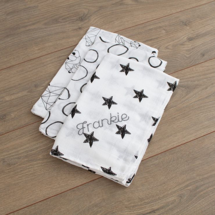 Personalised Pack of 3 Monochrome Star Print Muslin Swaddle Blankets folded
