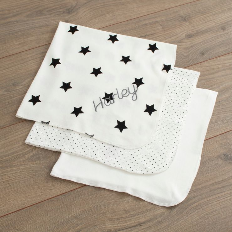 Personalised Pack of 3 White Dribble Blankets Folded
