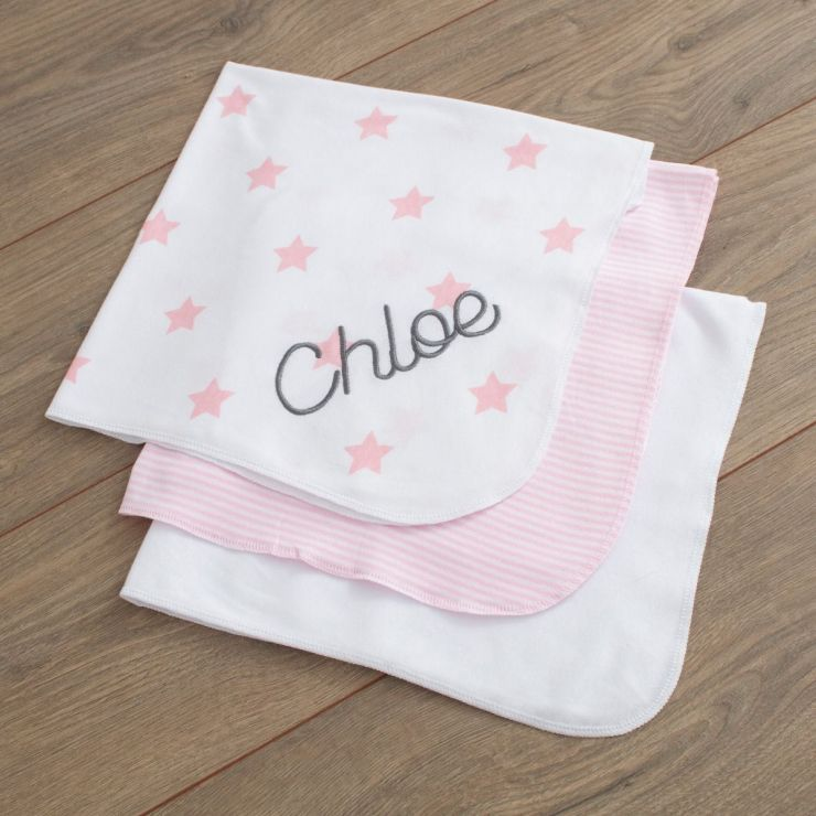 Personalised Pack of 3 Pink Dribble Blankets