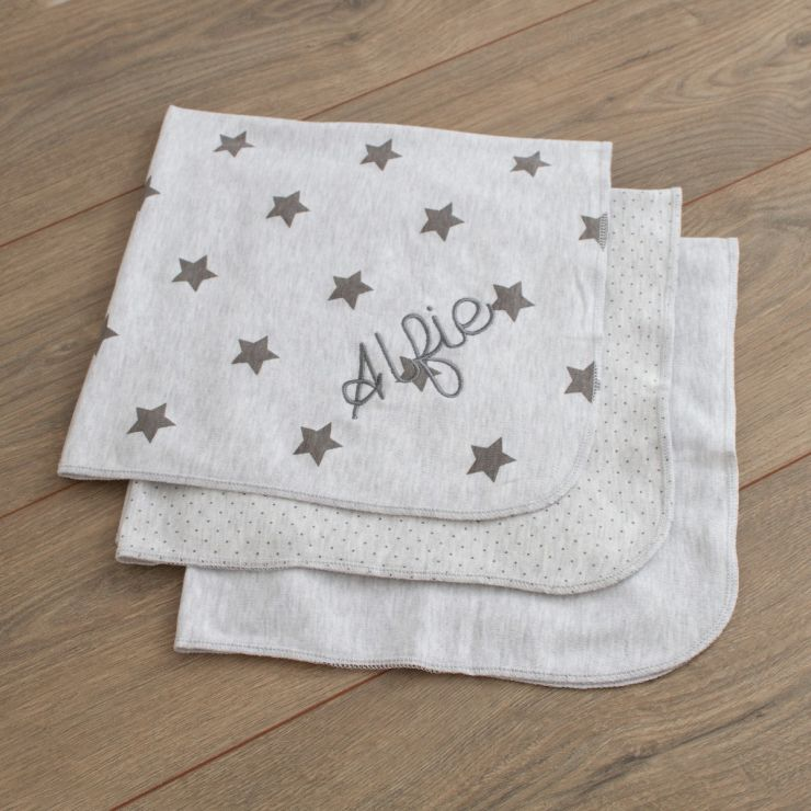 Personalised Pack of 3 Grey Dribble Blankets Folded
