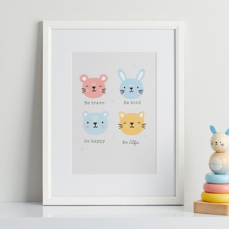 Personalised Furry Friends Children's Room Print with Frame