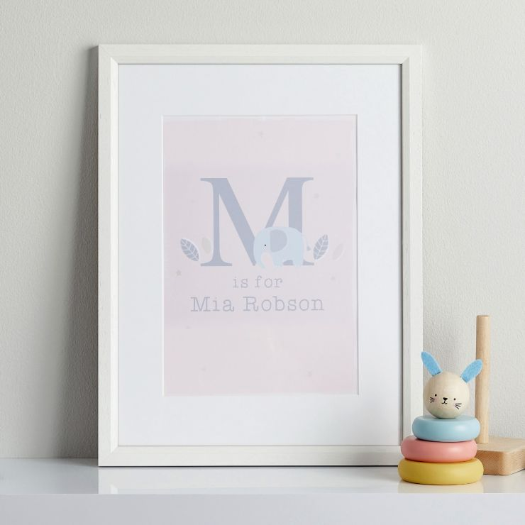 Personalised Pink Elephant Children's Room Print With Frame
