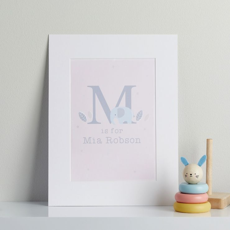 Personalised Pink Elephant Children's Room Print Mount Board Only