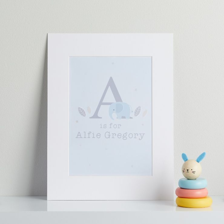 Personalised Blue Elephant Children's Room Print Mount Board Only