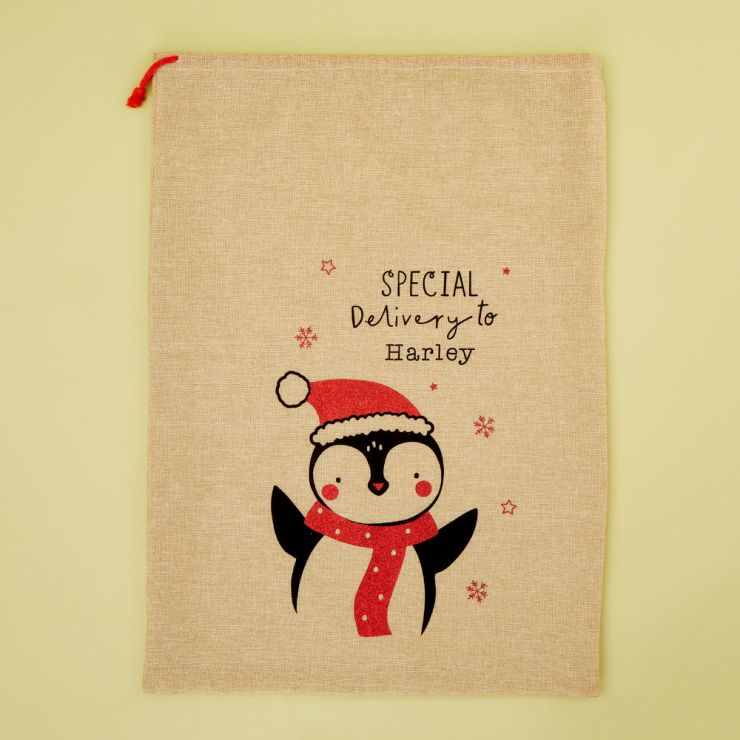 Personalised Penguin Design Hessian Christmas Sack