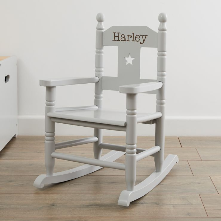 Personalised Grey Star Children's Rocking Chair