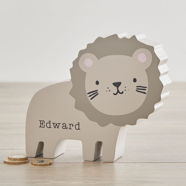 Personalised Lion Money Box