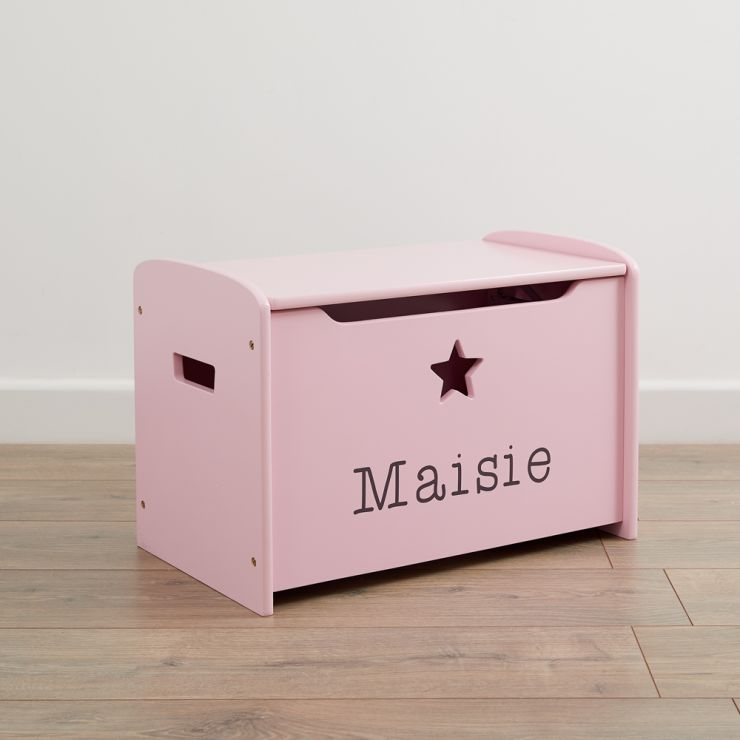 Personalised Pink Star Design Toy Box