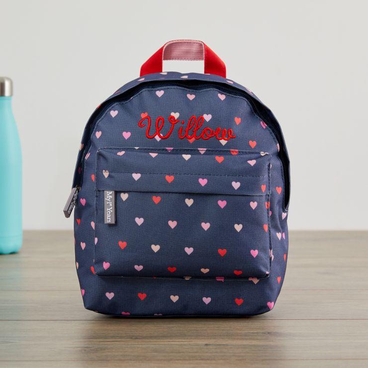 Personalised Heart Print Mini Backpack