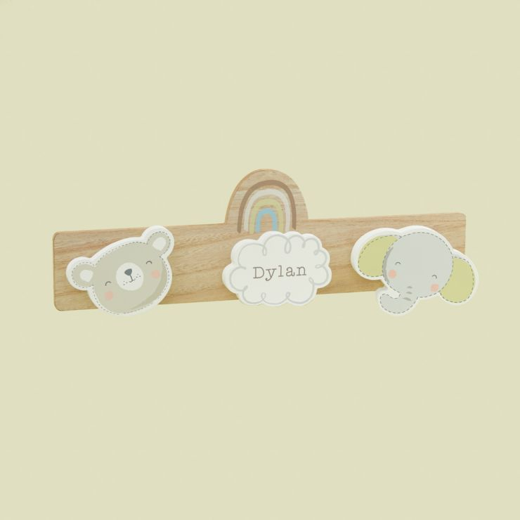 Personalised Bear and Elephant Children's Triple Coat Hook