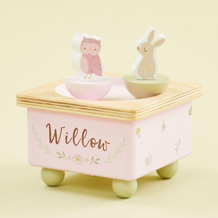 Personalised Wooden Woodland Animals Music Box