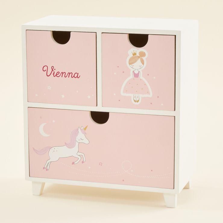 Personalised Pink Fairytale Mini Keepsake Drawers