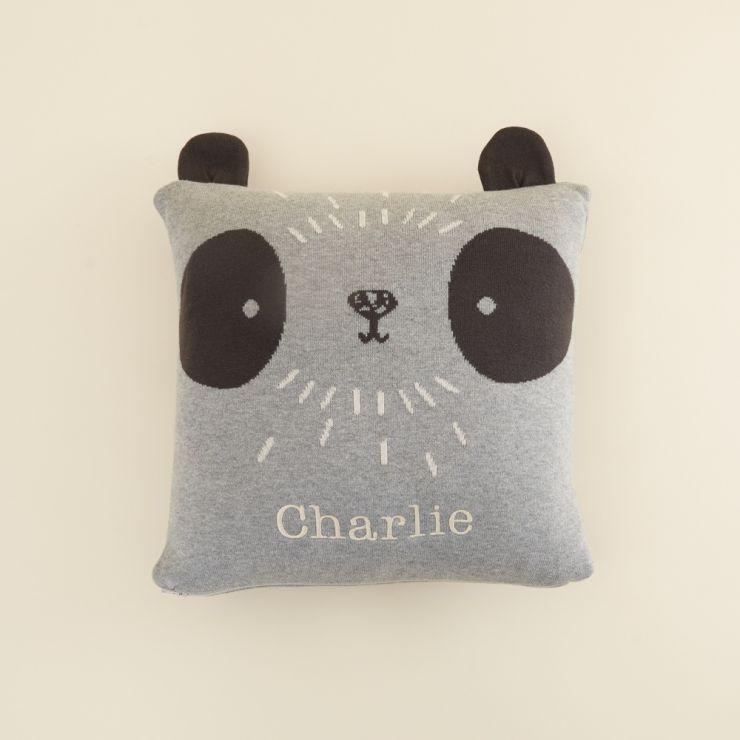 Personalised Grey Panda Design Organic Cushion (with Filling)