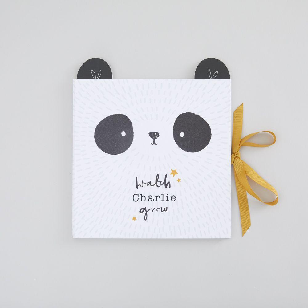 Personalised Monochrome Panda Design Baby Record Book