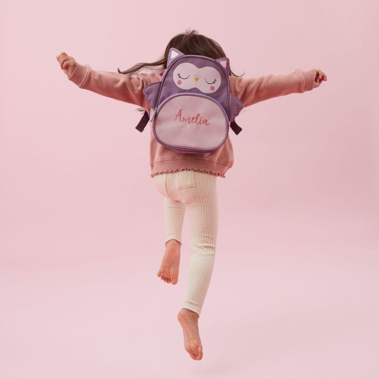 Personalised Pink Owl Mini Backpack Model