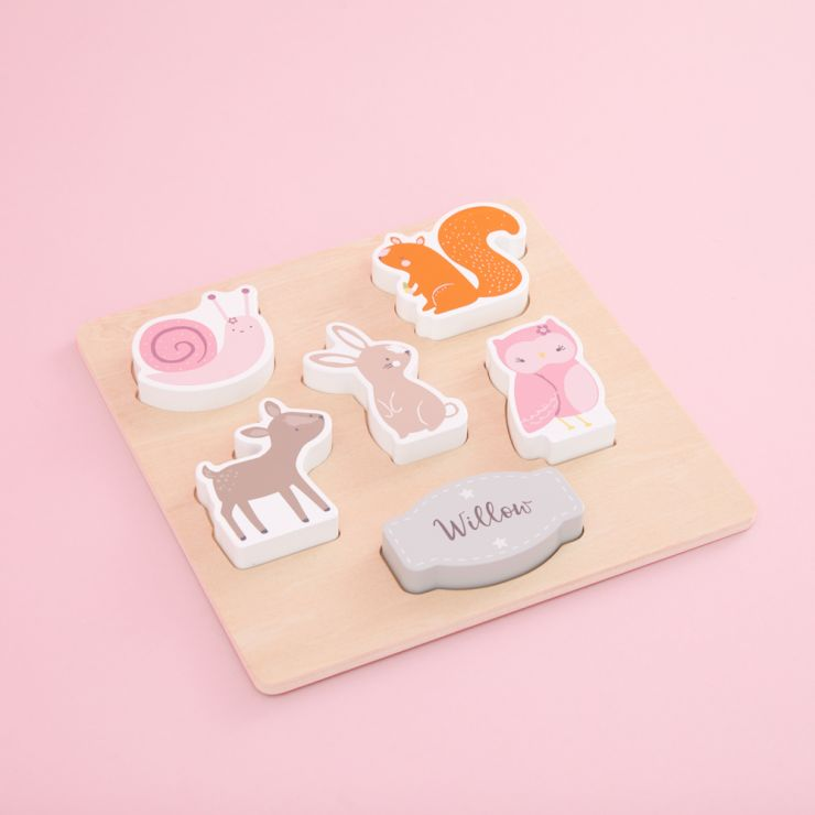 Personalised Wooden Woodland Animals Puzzle