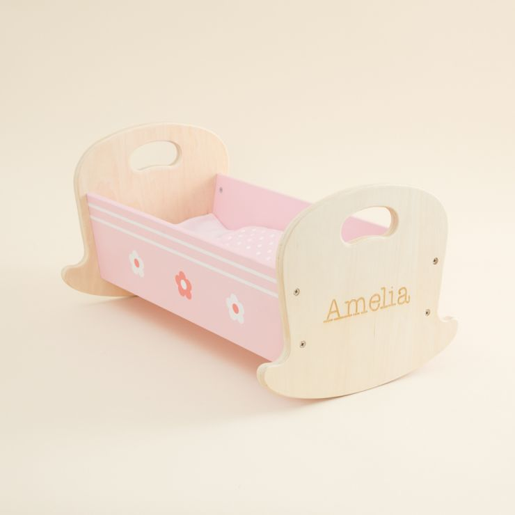 Personalised Doll's Cradle Wooden Toy