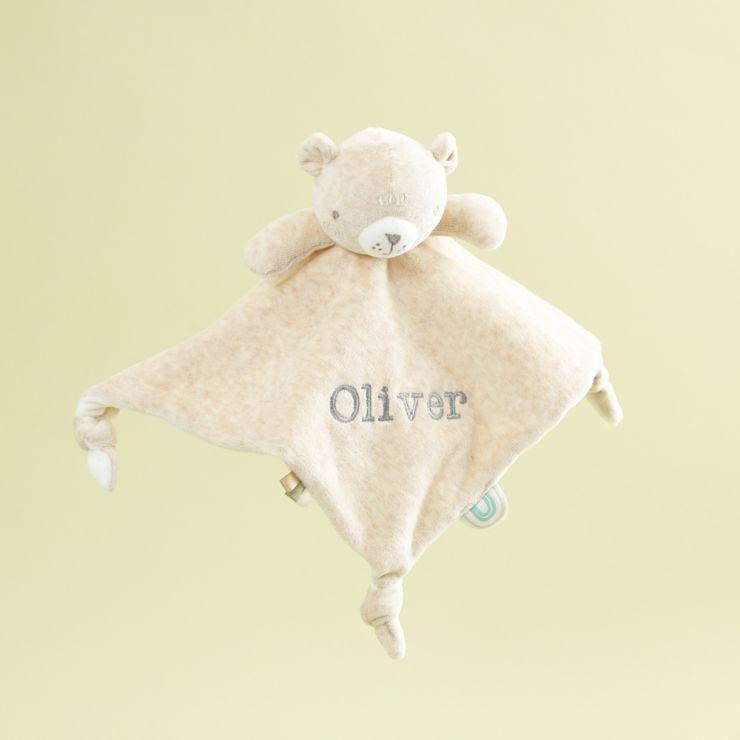 Personalised Cream Bear Velour Comforter