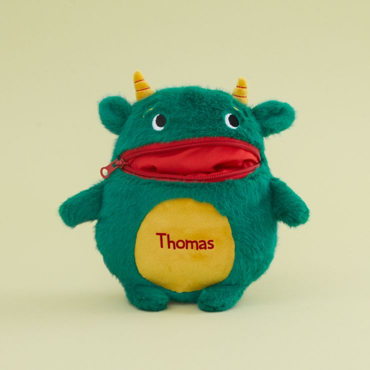 Personalised Green Worry Monster Soft Toy