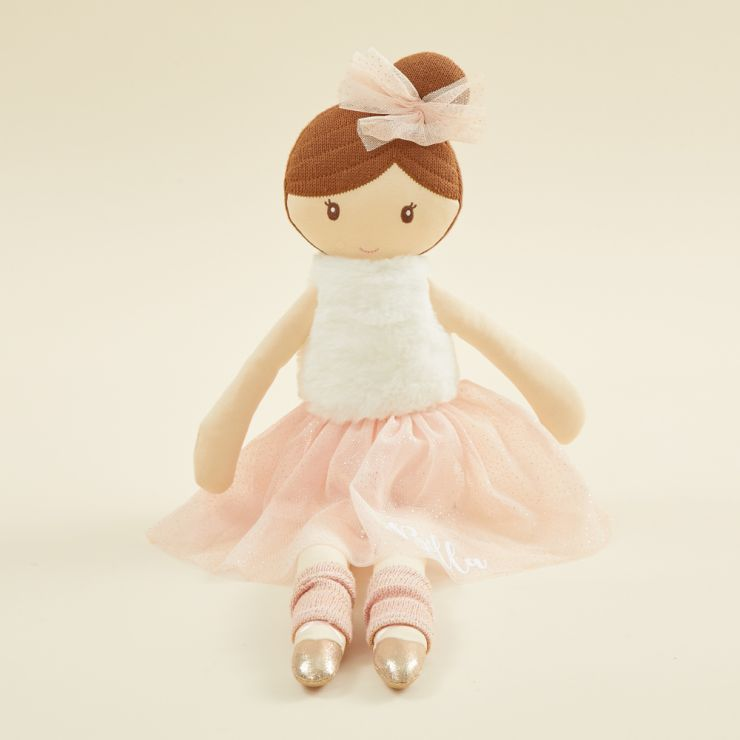 Personalised Large Ballerina Soft Doll with Brown Hair