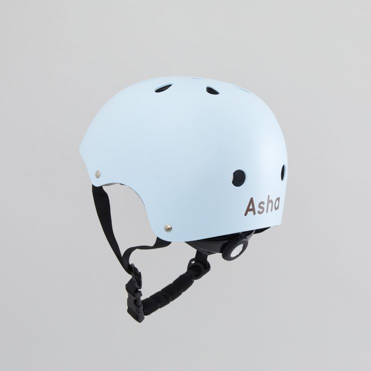 Personalised Banwood Classic Bicycle Helmet in Sky Blue Personalisation
