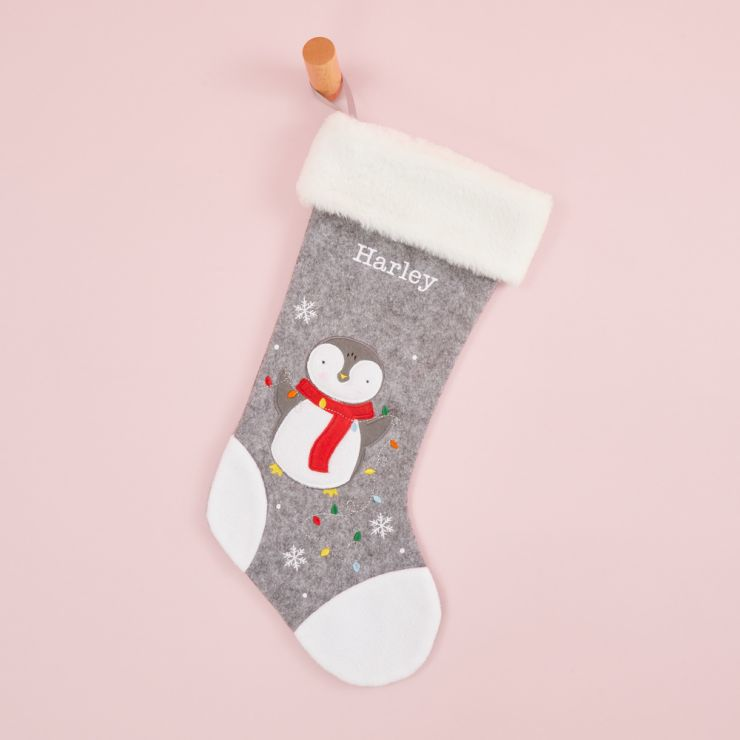 Personalised Small Fur Top Penguin Stocking