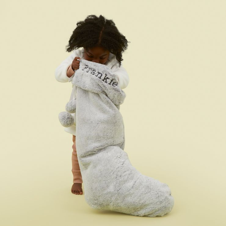 Personalised Extra Large Grey Faux Fur Stocking Model