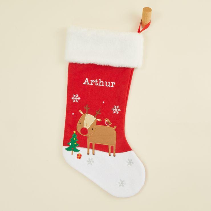 Personalised Medium Fur Top Reindeer Stocking