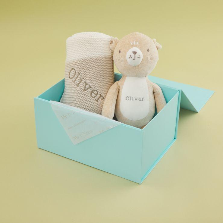 Personalised Unisex Neutral Blanket & Bear Gift Set