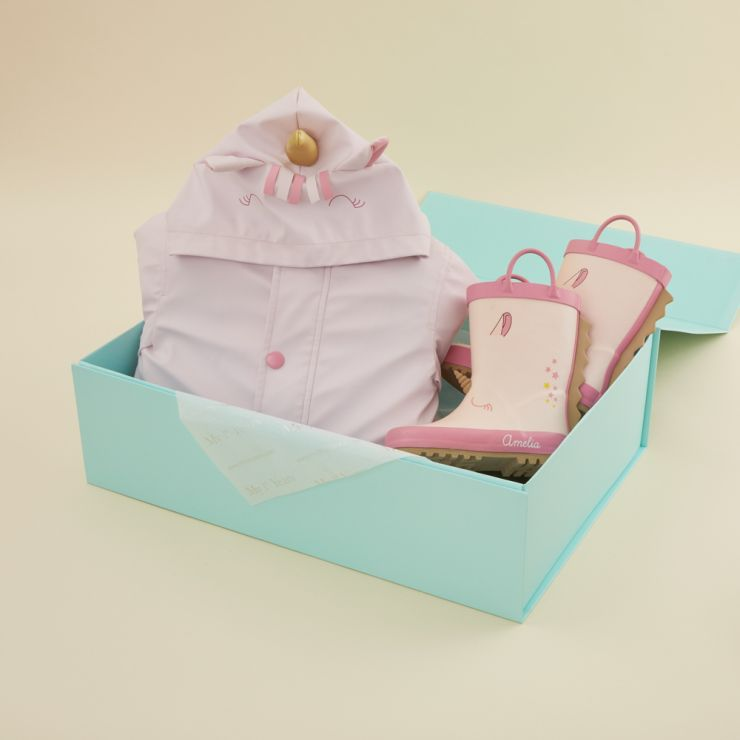 Personalised Little Unicorn Rain Coat and Wellies Gift Set