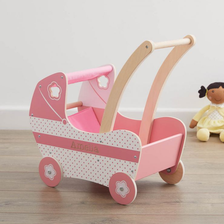 Personalised Pink Flower Dolls Pram