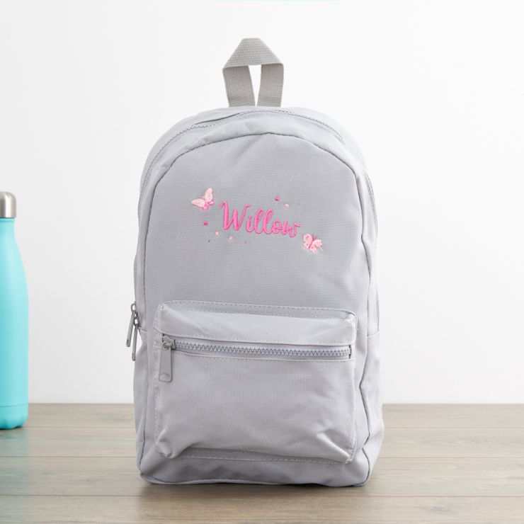 Personalised Grey Butterfly Design Infant Backpack
