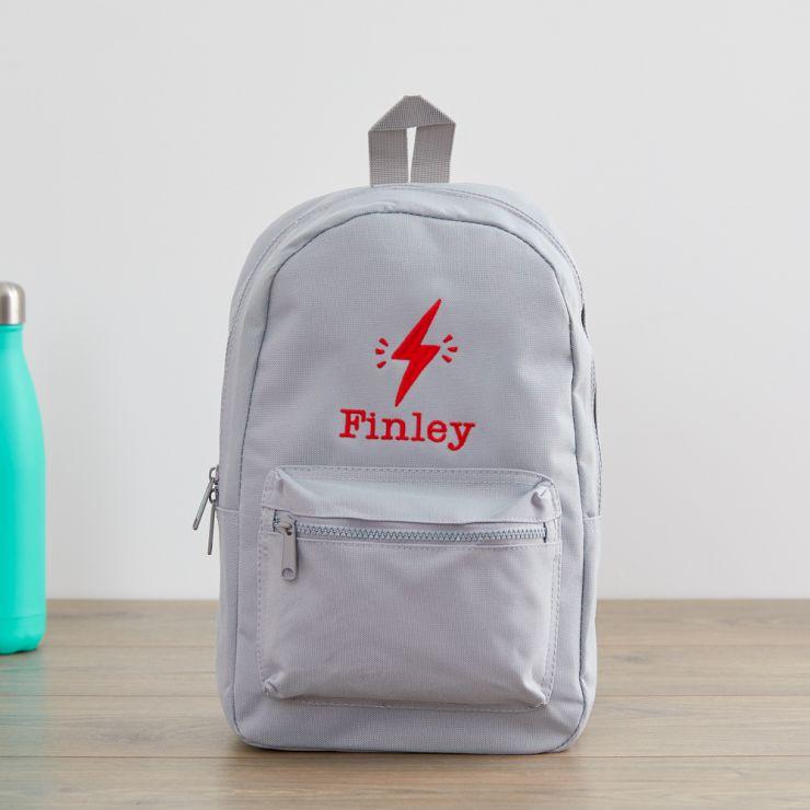 Personalised Grey Lightning Bolt Design Backpack