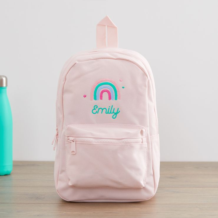 Personalised Pink Rainbow Design Backpack