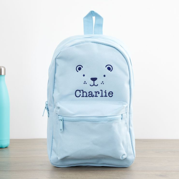 Personalised Blue Bear Design Infant Backpack