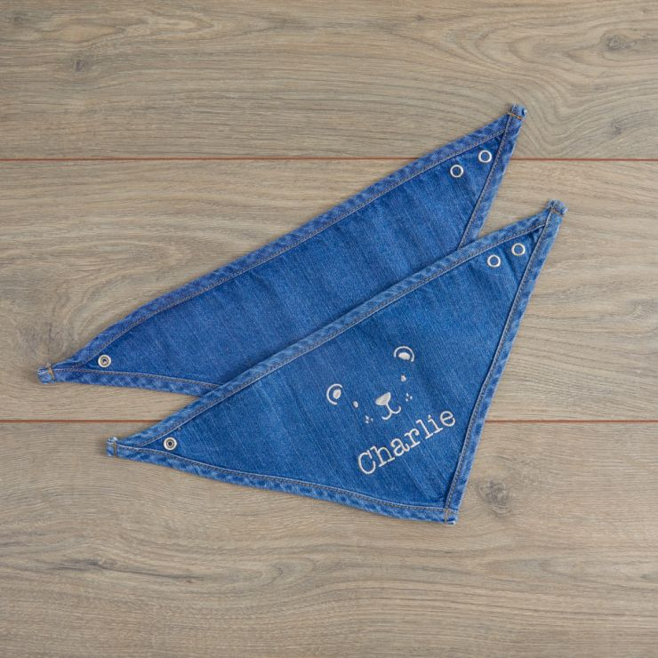 Personalised Bear Design Denim Bandana Bibs (2pk)
