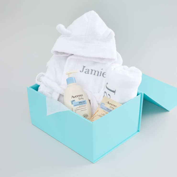 Personalised White Baby Bathtime Gift Set