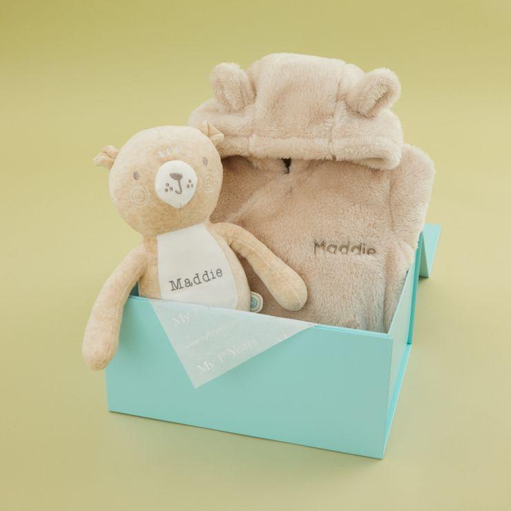 Personalised Neutrals Pram Suit & Bear Gift Set