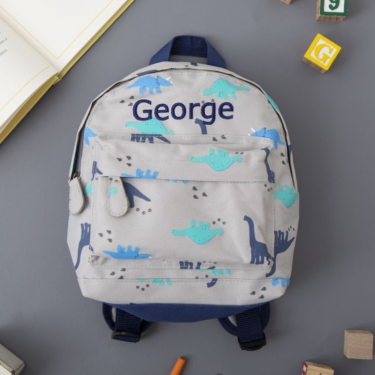 Personalised Dinosaur Print Mini Backpack