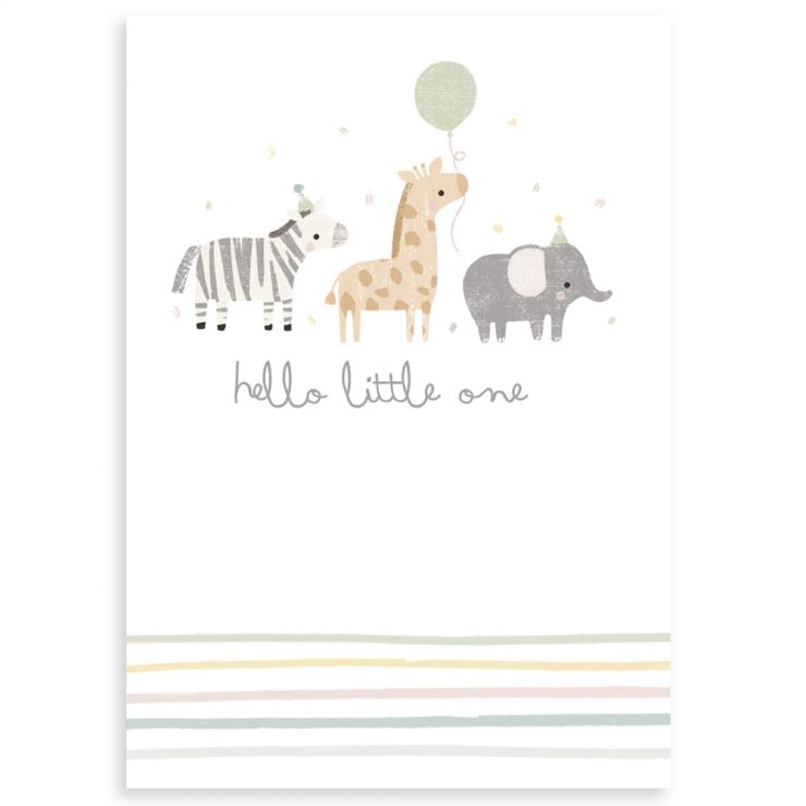 Personalised Animal Design New Baby Greetings Card