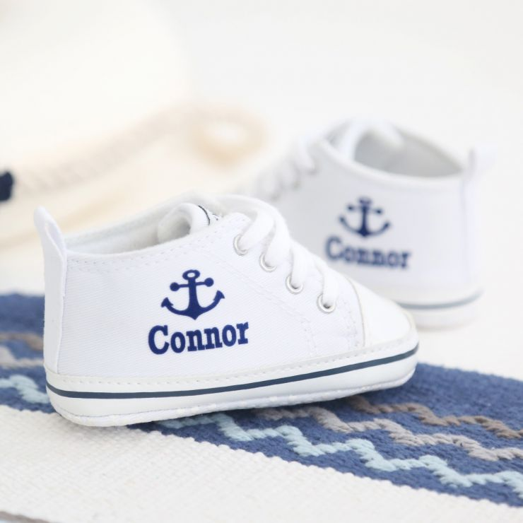 Personalised Anchor High Tops - White