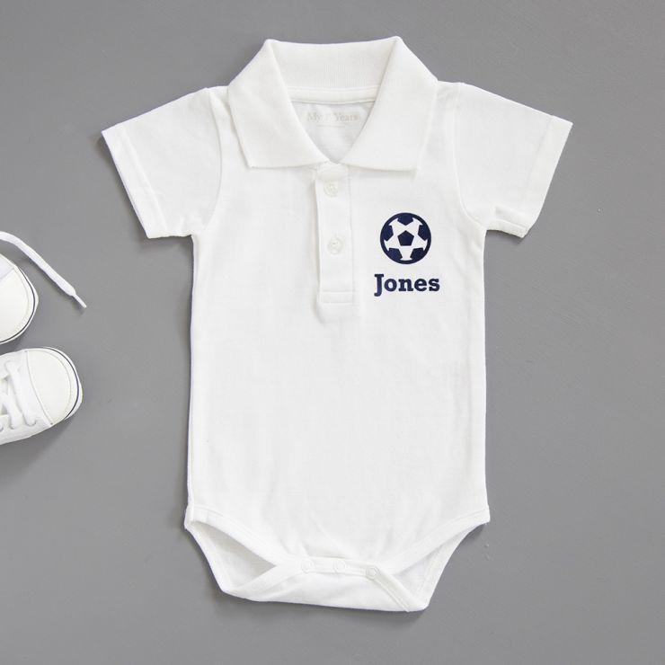 Personalised Football Polo Bodysuit - White