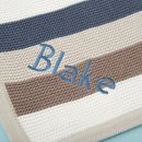 Personalised Blue Stripe Knitted Blanket Personalisation