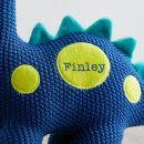 Personalised Blue Knitted Dinosaur Soft Toy Personalisation